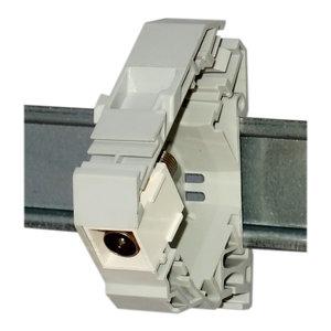 IEC male to F female coax coupler - DIN-rail keystone (ABI-DC1004S00)
